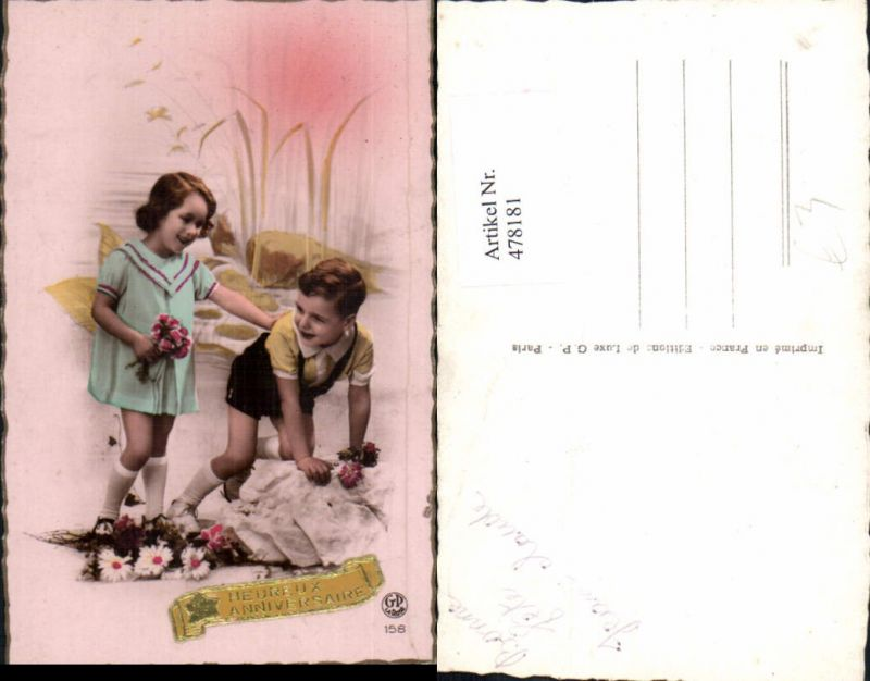 478181,Kinder Mädchen Bub Junge Blumen Heureux Anniversaire