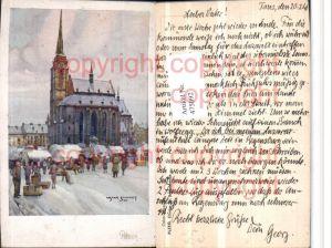 475092,Künstler AK Oskar Schmidt Pilsen Plzen Chram Kirche Winterbild
