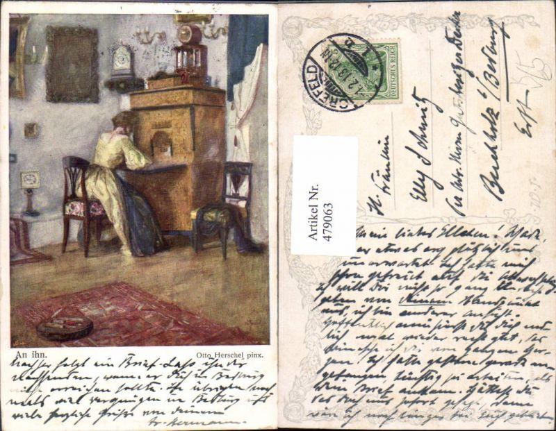 479063,Künstler Ak Otto Herschel An ihn Frau b. Schreiben Sekretär Interieur pub B.K.W.I. 1380