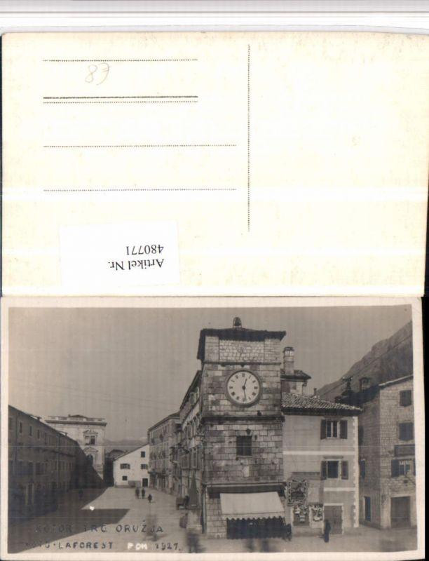 480771,Montenegro Kotor Trg od Oruzja Uhr Turm