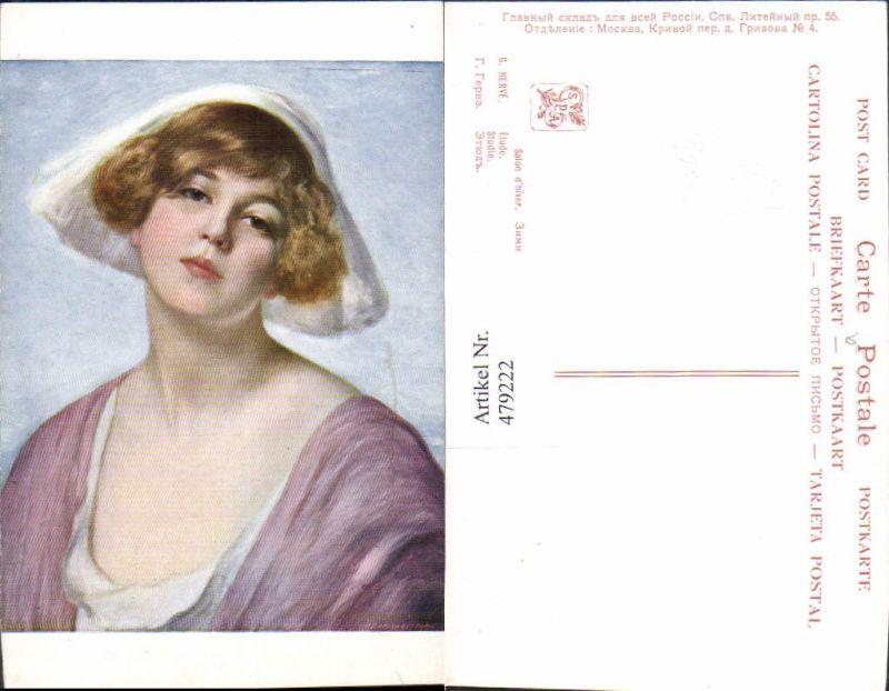 479222,Künstler Ak G. Herve Studie Frau mit Hut Haube Dekollete Erotik