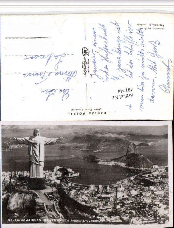 481744,Brazil Rio de Janeiro Vista parcial Corcovado Totale Statue