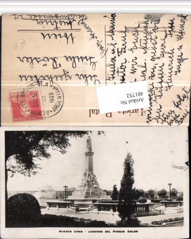 481752,Argentina Buenos Aires Jardines del Parque Colon Statue