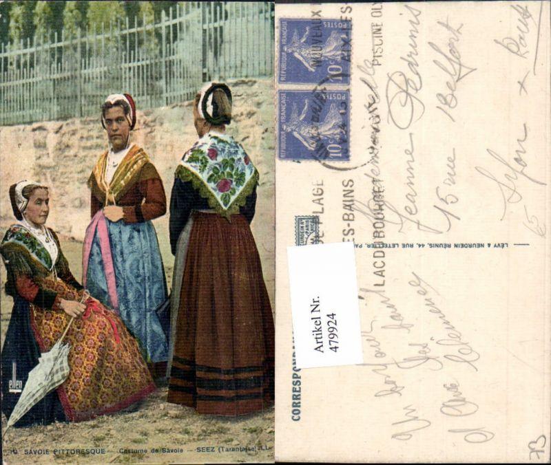 479924,Savoie Pittoresque Costume de Savoie Seez Frau Schirm Trachten Frankreich