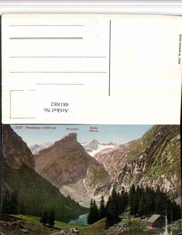 481882,Schwende Seealpsee See m. Rosszahn Säntis Bergkulisse Kt Appenzell