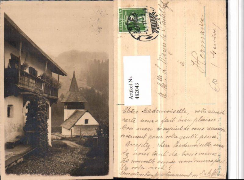 482043,Glaris Glarus Motiv Haus Kirche