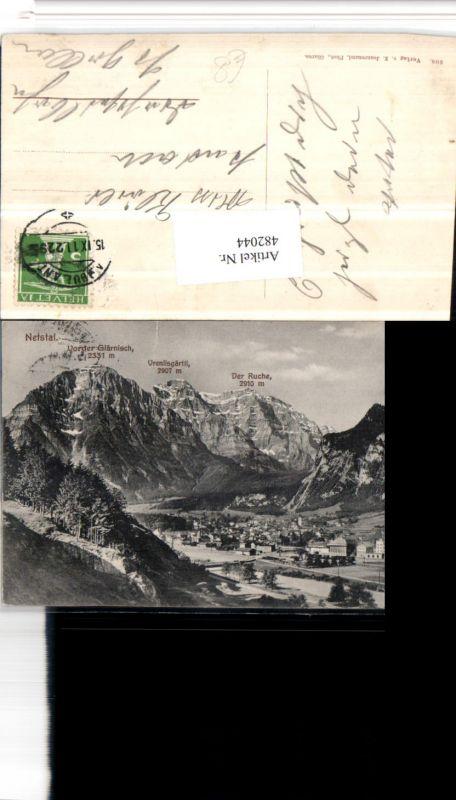 482044,Netstal Totale m. Vorder-Glärnisch Ruche Bergkulisse Kt Glarus