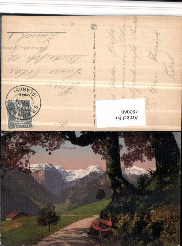 482060,Braunwald Wegpartie Bergkulisse Kt Glarus