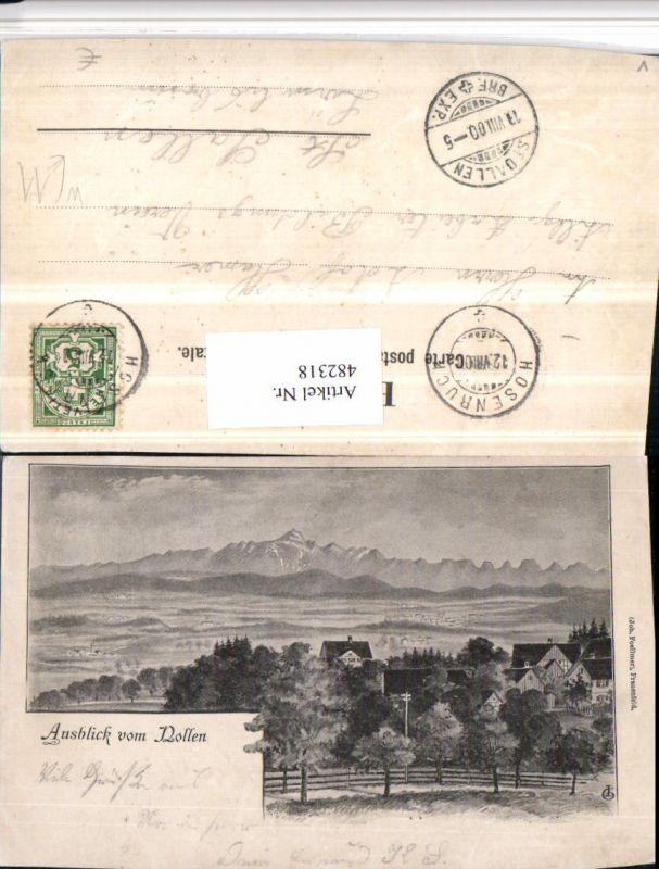 482318,Künstler AK Wuppenau Ausblick vom Nollen Bergkulisse Kt Thurgau