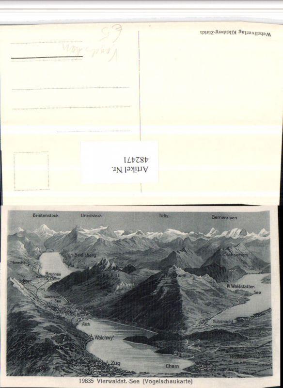 482471,Zug Vierwaldstättersee Totale Vogelschau Bergkulisse