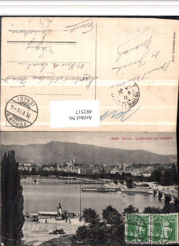 482517,Zürich Teilansicht Quaibrücke Brücke Dampfer m. Uetliberg