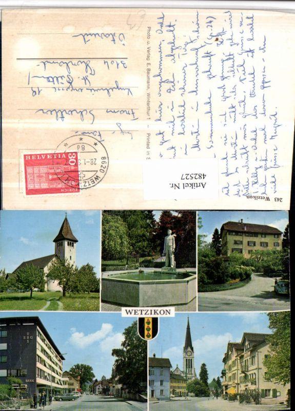 482527,Wetzkikon Kirche Brunnen Bank Mehrbildkarte Kt Zürich