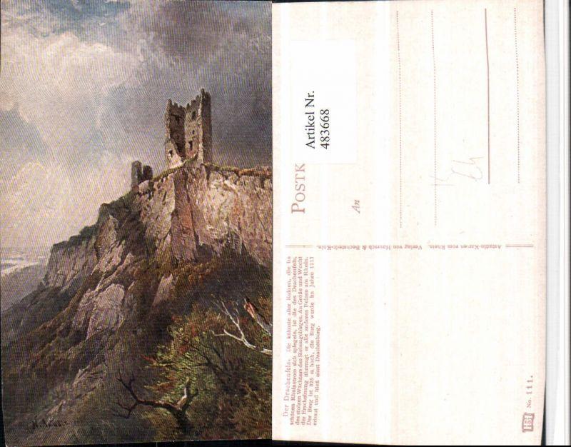 483668,Künstler AK Astudin Ruine Drachenfels b. Königswinter