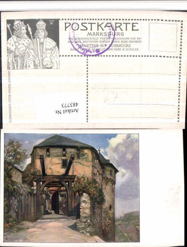 483773,Künstler AK Hans R. Schulze Marksburg b. Braubach am Rhein
