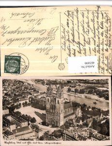 483890,Magdeburg Teilansicht m. Elbe u. Dom Kirche Fliegeraufnahme
