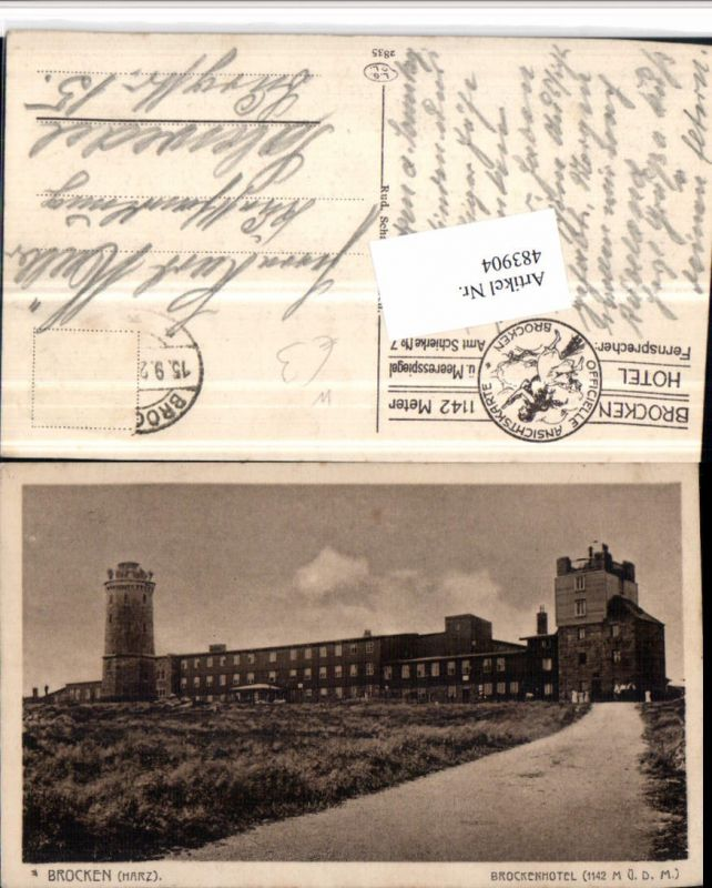 483904,Brocken im Harz b. Wernigerode Brockenhotel Turm