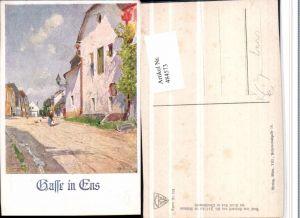 484573,Künstler AK Zetsche Ens Enns Gasse pub Deutscher Schulverein 821