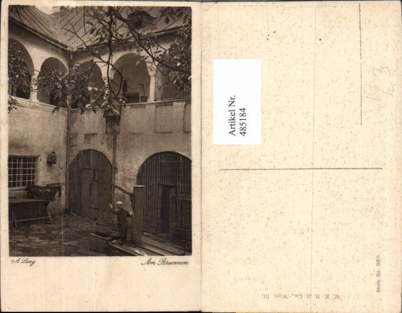 485184,Künstler Ak A. Lang Am Brunnen Bub Kind Hof Haus