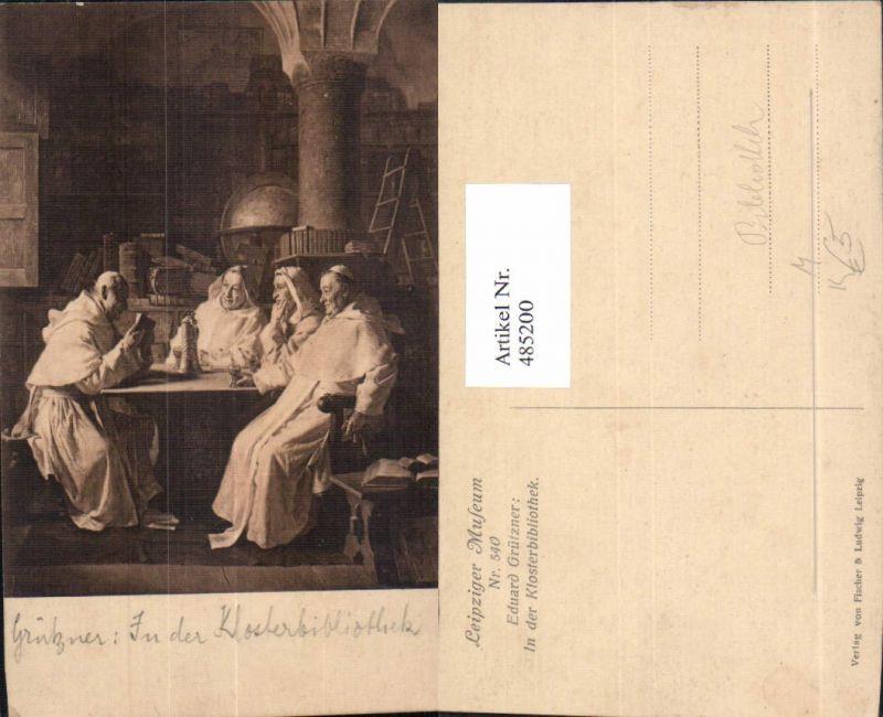 485200,Künstler Ak Eduard Grützner In der Klosterbibliothek Bibliothek