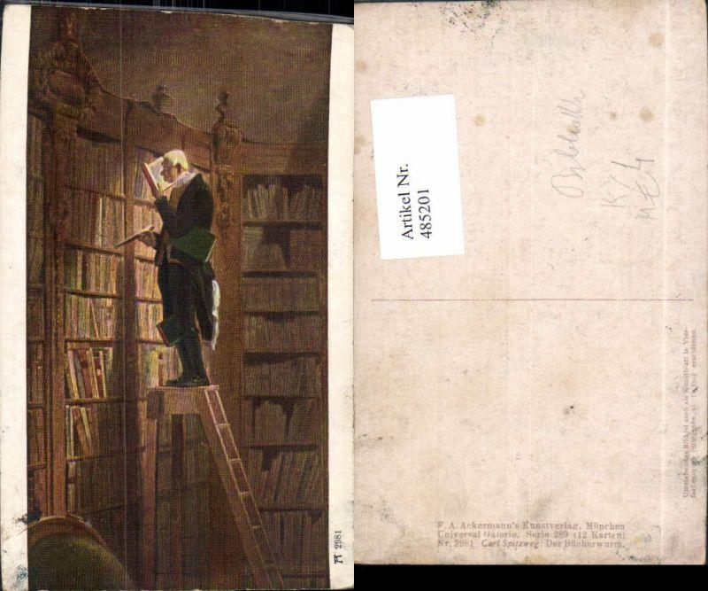 485201,Künstler Ak Carl Spitzweg Der Bücherwurm Bibliothek
