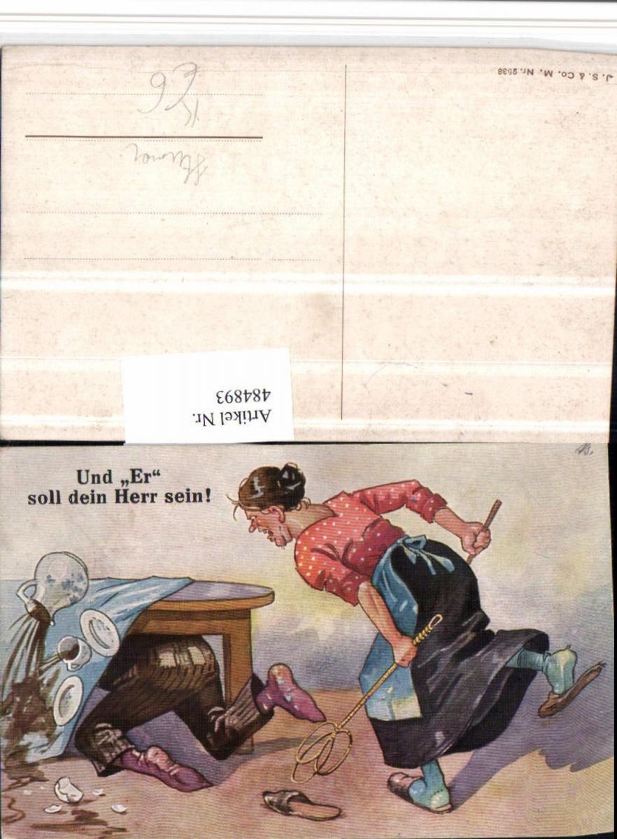 484893,Künstler AK Scherz Humor wütende Frau Teppichklopfer Mann unter Tisch