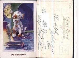 484930,Künstler AK J. Salmon Scherz Humor Hund angekettet Schüssel