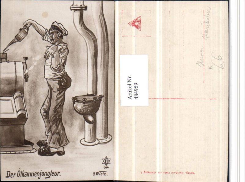 484959,Künstler AK O. Wietz Karikatur Scherz Humor Ölkannenjongleur Mann