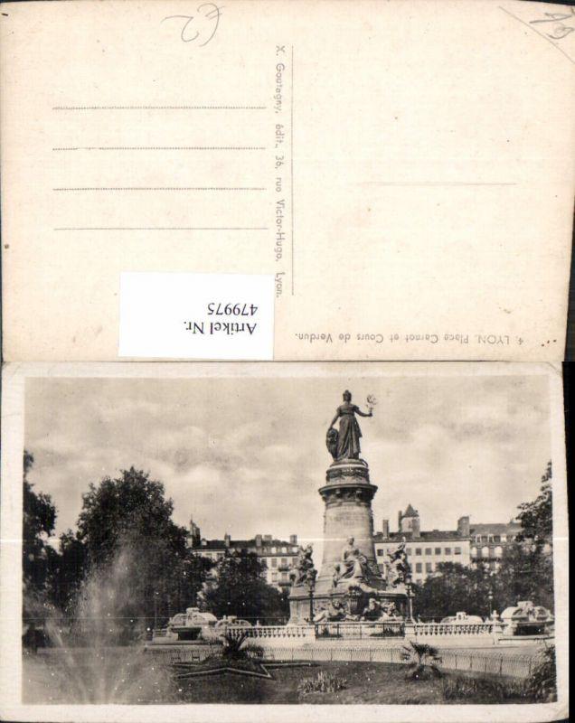 479975,Foto Ak Statue Lyon Place Carnot et Cours de Verdun Brunnen Springbrunnen