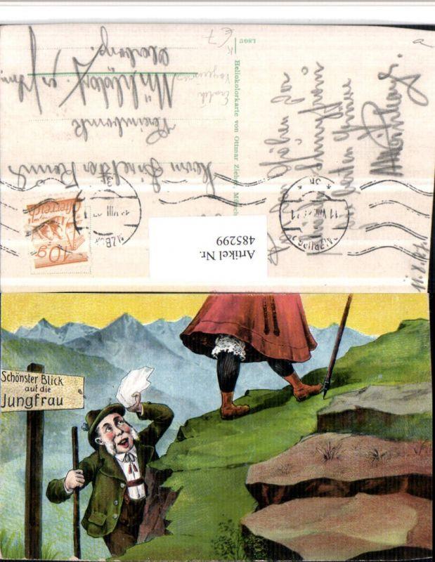 485299,Künstler AK Erotischer Humor Voyeurismus Berge Blick auf die Jungfrau