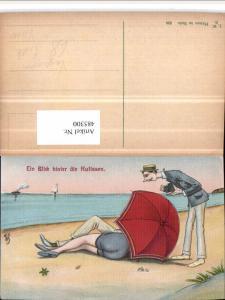 485300,Künstler AK Voyeurismus Erotischer Humor Strand Schirm