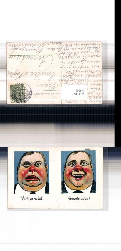 485306,Künstler Litho Frauenfeindlicher Humor Männergesicht Verheiratet Geschieden