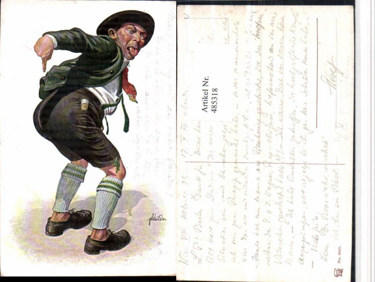 485318,Künstler AK F. Quidenus Scherz Humor Exzentriker Po Zunge