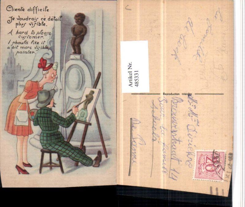 485331,Künstler AK Manneken-Pis Toilettenhumor Pinkelhumor Maler
