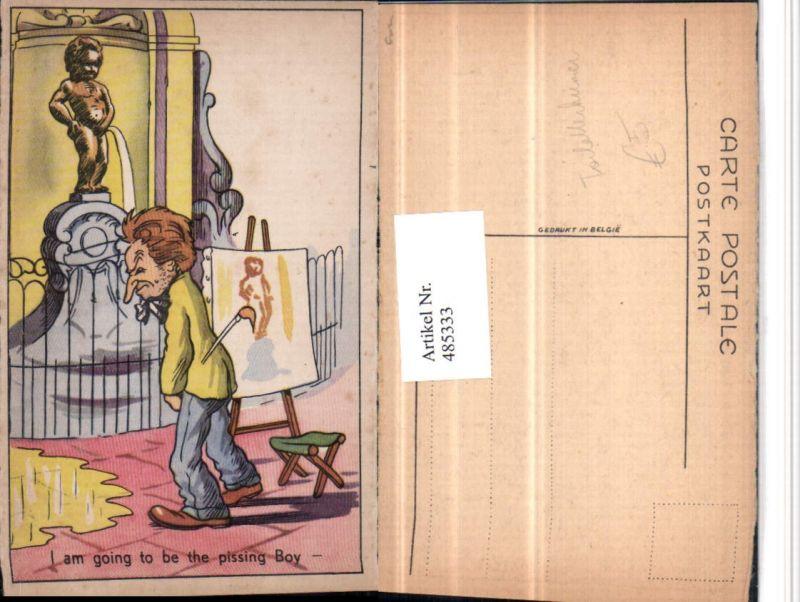 485333,Künstler AK Manneken-Pis Toilettenhumor Pinkelhumor Maler