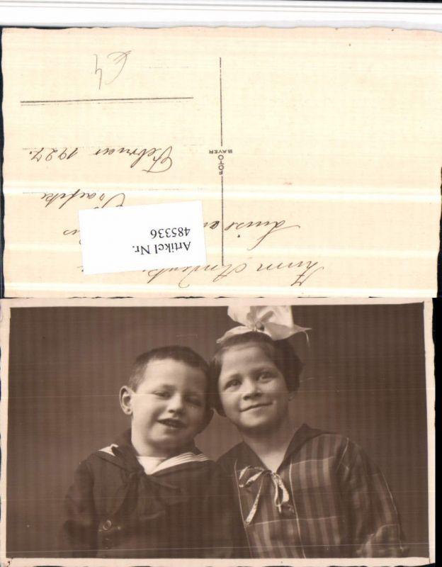 485336,Foto AK Kinder Mädchen Junge Geschwister Portrait
