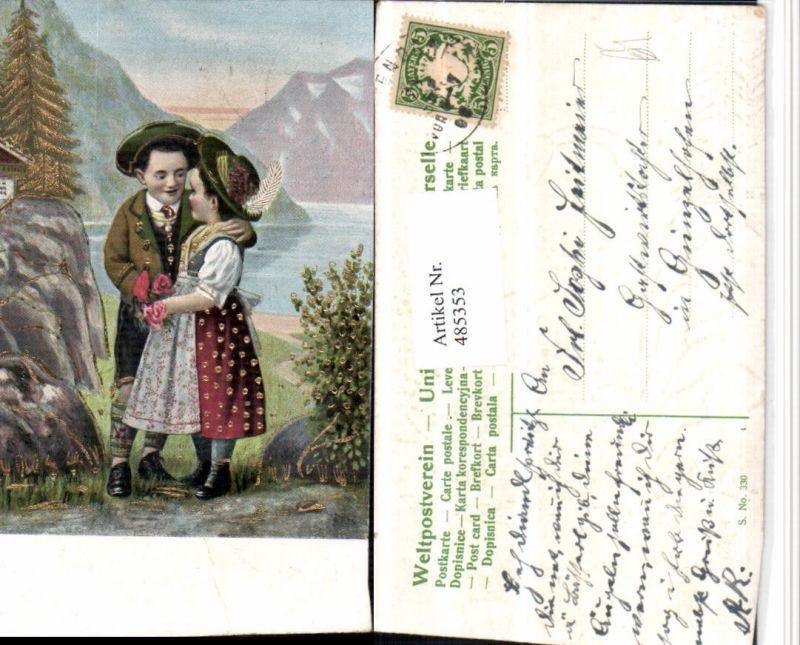 485353,Präge Künstler AK Kinder Liebe Paar Tracht Hüte