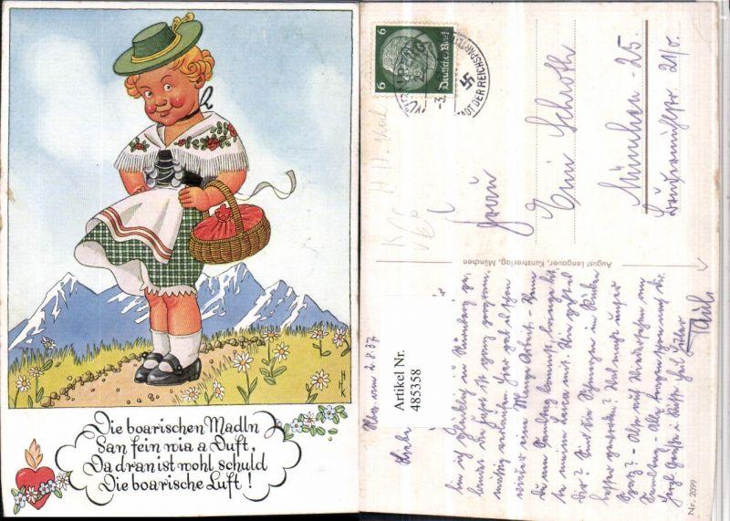 485358,Künstler AK H.H. Koch Kind Mädchen Tracht Berge pub August Lengauer 2099