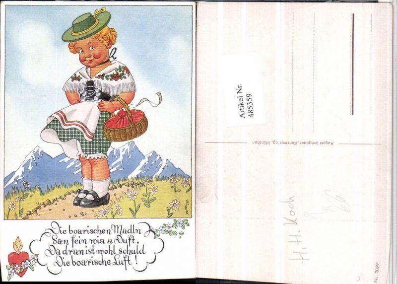 485359,Künstler AK H.H. Koch Kind Mädchen Tracht Berge pub August Lengauer 2099