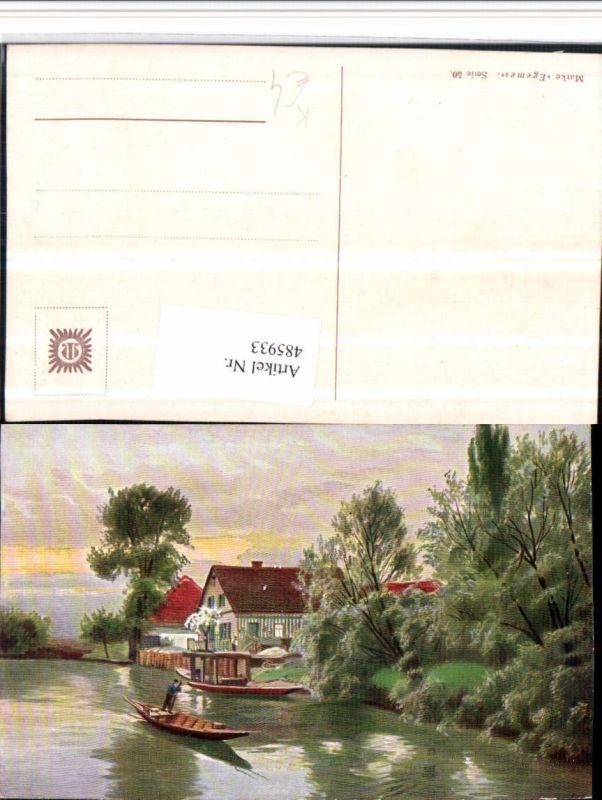 485933,Künstler AK Landschaft Teich Zille Boot Haus