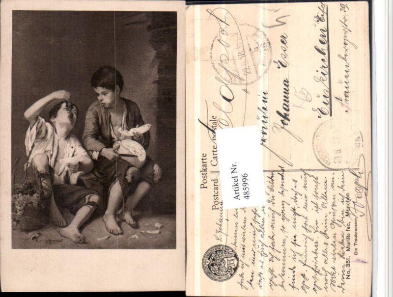 485996,Künstler AK Murillo Traubenesser Kinder Trauben Korb