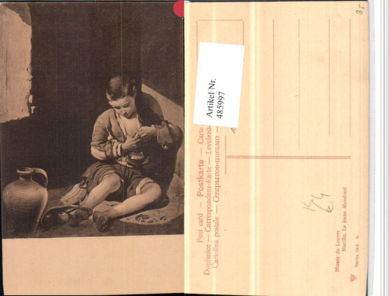 485997,Künstler AK Murillo Le jeune Mendiant Kind Junge Krug