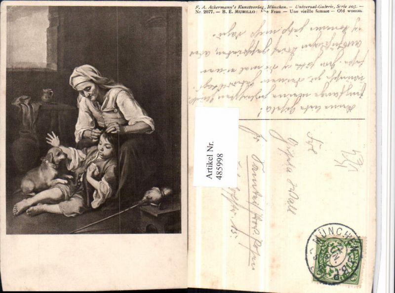 485998,Künstler AK B.E. Murillo Alte Frau Kind Hund pub Ackermann 2077