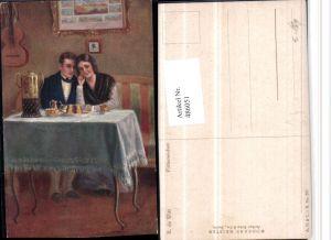 486051,Künstler AK R. De Witt Flitterwochen Liebe Paar Tisch Kuchen Gitarre