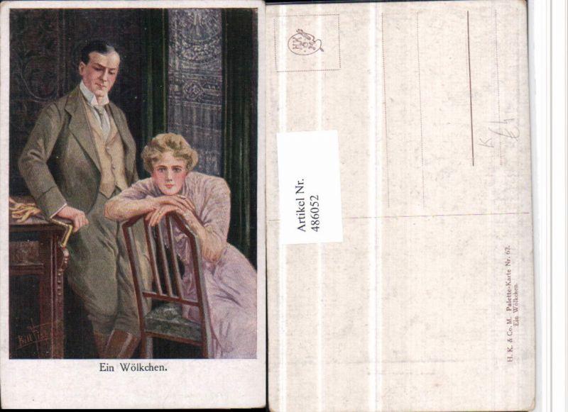 486052,Künstler AK Bill Fisher Ein Wölkchen Paar Frau Stuhl