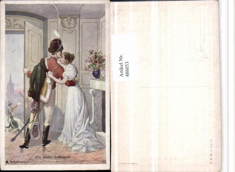 486053,Künstler AK R. Kratky Ein letztes Lebewohl Paar Kuss pub B.K.W.I. 223/2