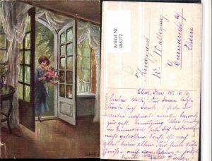 486172,Künstler AK Elly Frank Die Gratulantin Frau Blumen Tür