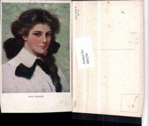 486250,M. Munk Vienne 832 Künstler Clarence F. Underwood Reife Kirschen Frau Portrait