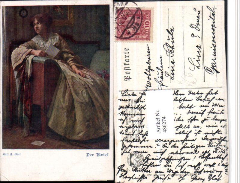 486274,Deutscher Schulverein 875 Künstler Karl F. Gsur Der Brief Frau Kleid