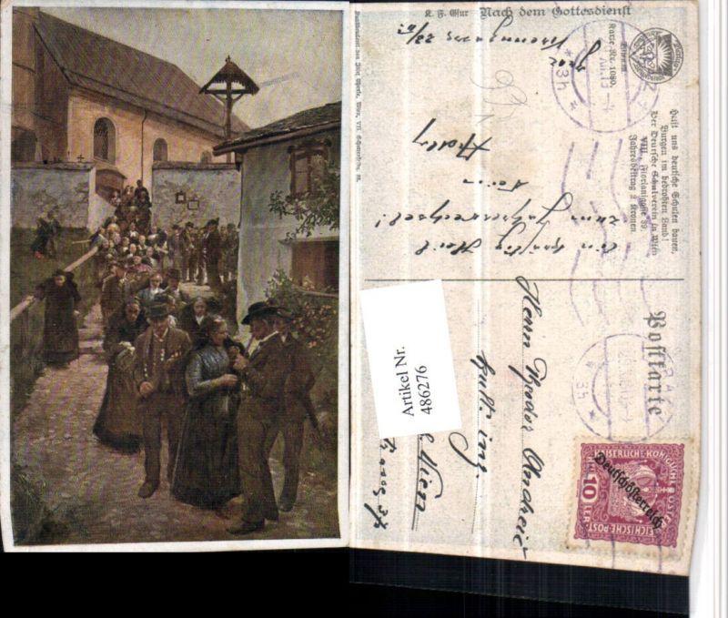 486276,Deutscher Schulverein 1080 Künstler Karl F. Gsur Nach dem Gottesdienst