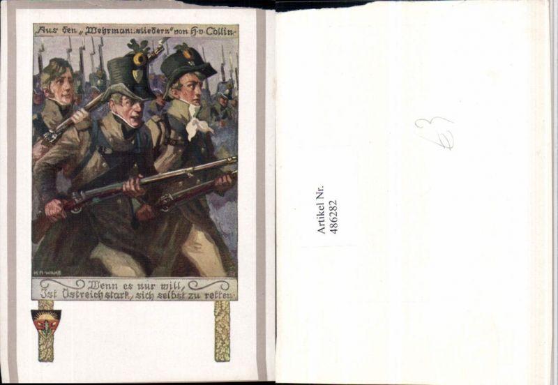 486282,Deutscher Schulverein Künstler K.A. Wilke Soldaten Gewehre